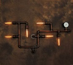 Large Industrial Vintage Steampunk Rustic Metal Pipe Retro Wall Lamp Edison Wall Light
