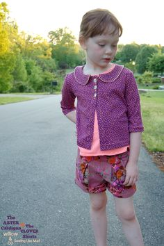 Sewing Like Mad: The Aster Cardigan (LBG Studio) + The Clover Shorts (by Mouse House Creations) sold by willow & co. #sewingforkids #sewingpatterns #willowandcopatterns