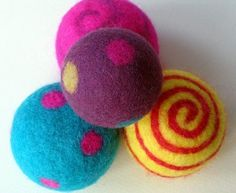 """How to make felt balls (tutorial) -- see """"tips and hints"""" at end of post"""
