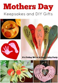 Mothers Day keepsakes and diy gifts ideas from the It's Friday We're In Love Linky Party. Includes ideas for DIY Jewellery gifts, hand and footprint keepsakes, flower gifts and activities and Mothers Day cards.