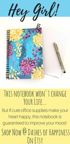 This unique floral journal is just perfect to use as a gratitude journal, small enough to pop into your purse for your daily writing and pretty enough to leave on your bedside table.  Fill the pages of this cute notebook with your hopes and dreams or your grocery list. * Gratitude journal * Writing journal * daily journal