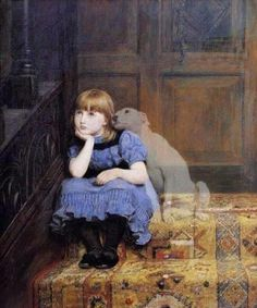 Little girl and dog ghost watching over her awww <3