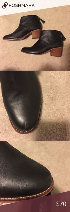 Leather toms booties! Black leather toms booties! Used with a couple of scuffs on the toes, most barely noticeable but one brown that is more prominent.it is from the heel of the boot having rubbed against the leather and it may be able to be cleaned off but I don't know how and didn't want to chance ruining them! Still really beautiful booties with a lot of life left! TOMS Shoes Ankle Boots & Booties