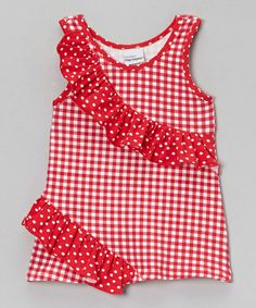 Take a look at this Red Gingham Rolling Ruffle Top - Infant, Toddler & Girls by Flap Happy on #zulily today!