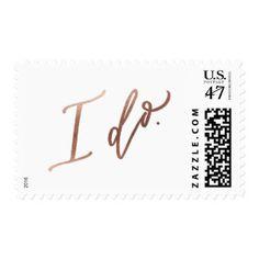 """""""I DO"""" Wedding Calligraphy Stamp // Rose Gold foil"""