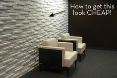 "Re-create this accent wall using scrap pieces of MDF in 1/2"" and 3/4"" thickness linear strips. LOVE THIS!"