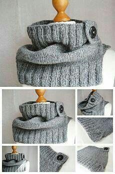 Crochet Cowl Poncho Buttons Ideas For 2019 Knit Cowl, Knitted Shawls, Crochet Scarves, Free Crochet, Knit Crochet, Knitting Patterns, Crochet Patterns, Arm Knitting, Knitting Accessories