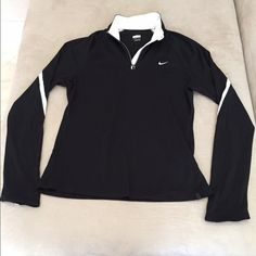 NEW!! Nike FitDri 1/4 Zip Top NEW!! Nike FitDri 1/4 Zip Top. Size M. Black with white collar and stripe going down sleeve.No thumb holes. Lightweight. 100% polyester. NEVER WORN!! No trades. Nike Tops