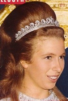 HRH Princess Anne, Princess Royal wearing the Scroll Diamond Tiara, she borrowed it until she was given her grandmother's Greek Key Meander in 1972. (that is a lot of poufing)