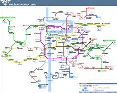 Prague metro plan for 2100 Transport Map, Public Transport, Metro Map, Subway Map, Prague Travel, Planer, Wild Things, How To Plan, Czech Republic