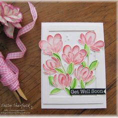 """A card for the Simon Says Wednesday Challenge """"Fantastic Florals """" using the gorgeous """"Spring Flower """"set @simonsaysstamp . #ssswchallenge #zigbrushmarkers #simonsaysstamp #handmade #handmadecards #cardmakinghobby"""