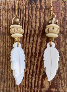 DBC's Aztec Inspired White Feather Tribal Earrings Excited to share the latest addition to my Aztec Jewelry, Loc Jewelry, Tribal Earrings, Jewelry Sets, Drop Earrings, Jewlery, I Love Gold, White Feathers, Love Design