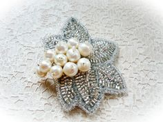 White Freshwater Pearl Brooch Beaded Hair Pin Snowberry Pearl Brooch Silver Handwoven Brooch Pearl and Silver Hair Accessory Easter Gift – presents for boyfriend diy Handmade Shop, Handmade Items, Handmade Gifts, Handmade Jewelry, Pearl Brooch, Silver Brooch, Seed Bead Jewelry, Seed Beads, Gemstone Jewelry
