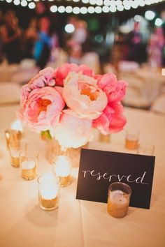 Top 15 Peony & Candle Centerpieces – Cheap Easy Design For Unique Spring Day Party - Homemade Ideas Wedding Wishes, Wedding Signs, Our Wedding, Dream Wedding, French Wedding, Wedding 2015, Wedding Ceremony, Rustic Centerpieces, Wedding Centerpieces