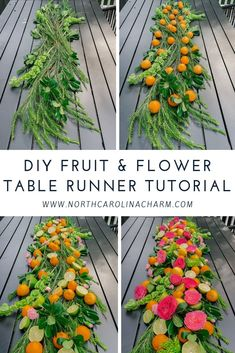 By popular request, today I'm sharing the SUPER easy fruit and flower table runner I created for my girls wine night last week. Dinner Party Decorations, Table Decorations, Table Flowers, Fruit Flowers, Party Entertainment, Luau, Table Centerpieces, Event Decor, Event Planning