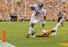 Alabama quarterback Jalen Hurts (2) gets by Tennessee defensive back Emmanuel Moseley (12) for his third touchdown during the second half of Alabama's SEC football game at Tennessee, Saturday, Oct. 15, 2016, at Neyland Stadium in Knoxville, Tenn. Vasha Hunt/vhunt@al.com Alabama 49 Tennessee 10 #Alabama #RollTide #Bama #BuiltByBama #RTR #CrimsonTide #RammerJammer #BAMAvsTENN