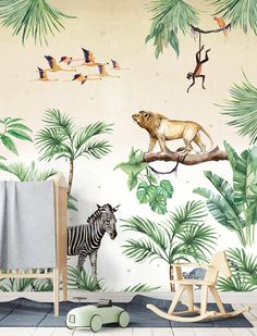 King of the Jungle Wallpaper setting - Creative Lab Amsterdam Bedroom Themes, Home Decor Bedroom, Girls Bedroom, Nursery Decor, Room Decor, Trendy Bedroom, Safari Room, Chambre Nolan, Jungle Bedroom