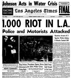 Image result for st arts of the watts riots in l.s.