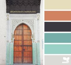 turquoise, mint, navy, coral, grey, and tan. girl's room color palette. love this combo!