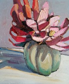 Jane Guthleben, Little Leucadendron in 50's Vase , 2017, Oil on Board, 40 x 40 cm, .M Contemporary, Art Gallery, 37 Ocean St, Woollahra, NSW, enquire at gallery@mcontemp.com