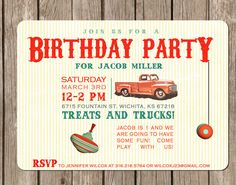 Vintage Toy Truck Baby Shower - boy - perfect for a baby shower or birthday party - customized to any color (DEPOSIT). $5.00, via Etsy.