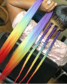 Rainbow Box Braids - Cold rainbow box braids by gee. Informations About Rainbow Box Braids Pin You can easily - Colored Box Braids, Big Box Braids, Box Braids Styling, Box Braids For Kids, Long Braids, Box Braids Hairstyles, Girl Hairstyles, Hairstyles Videos, Braid Out
