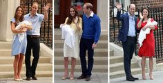 Prince William and the Duchess of Cambridge posed outside the Lindo Wing with Prince George on July 23, 2013 (left), Princess Charlotte on May 2, 2015 (centre) and the new Prince earlier (right)