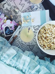 Lavender Bee's Knees Cocktail + Brown Butter Popcorn