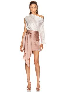 Shop for Michelle Mason One Sleeve Draped Top in Ivory at FWRD. Free 2 day shipping and returns. Dressy Dresses, Event Dresses, Stage Outfits, Stylish Outfits, Party Fashion, Fashion 2020, Elegant Outfit, Dress To Impress, Fashion Dresses