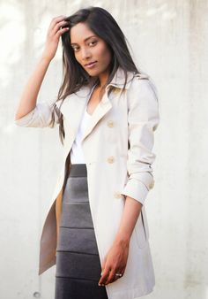 Trench Coat and Pencil Skirt Tiered Pencil Skirt Classic work wear Office Chic