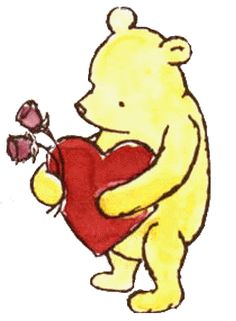 Classic Winnie the Pooh Valentine Heart and Flowers