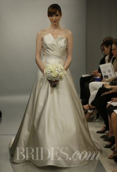 "Theia Spring 2014 - ""Carrie"" duchess satin ball gown with origami folded bodice"