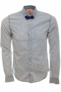 Scotch & Soda Dressed Denim Bowtie Shirt Blue. Why not try washed out #denim available at intro