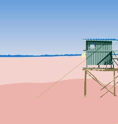 STUDIO TANDEM  Motif / #dessin #flat #graphisme #graphic #design #bordeaux #bassin #cabane #colors #couleurs