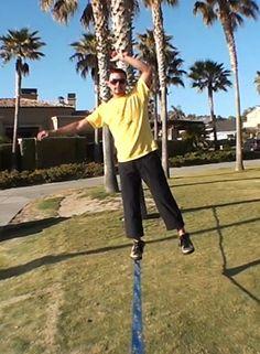 frankie najera showing how to keep balance on slackline