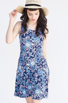 Agnes & Dora - Fisher Dress  I Got You Babe Floral Navy and Chambray