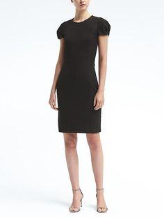 Pleated-Sleeve Bi-Stretch Sheath Dress