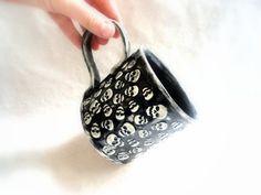 Skull Halloween Large Coffee Cup Pottery Mug by YviBJonesCeramics