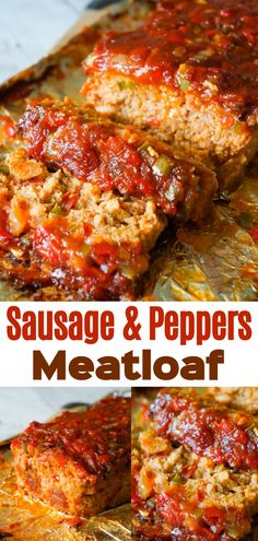 Sausage and Peppers Meatloaf is an easy meatloaf recipe using two pounds of mild Italian sausage meat and loaded with diced green peppers, red peppers and onions all in a sweet and spicy tomato sauce. Sausage and Peppers Meatloaf - This is Not Diet Food Best Easy Meatloaf Recipe, Classic Meatloaf Recipe, Meat Loaf Recipe Easy, Best Meatloaf, Meatloaf Recipe With Italian Sausage, Easy Meatloaf Recipe With Tomato Sauce, Spicy Meatloaf Recipe, Stuffed Meatloaf Recipes, Meatloaf Sauce