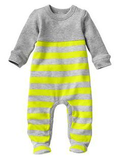Stripe sweatshirt footed one-piece - I'll need hundreds of these for summer, fall, and winter (0-3 mos)