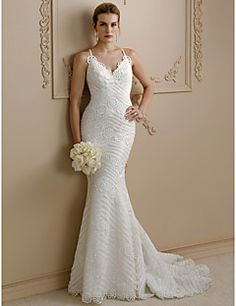 Mermaid+/+Trumpet+Spaghetti+Straps+Sweep+/+Brush+Train+Lace+Wedding+Dress+with+Appliques+Buttons+by+LAN+TING+BRIDE®+–+USD+$+499.98