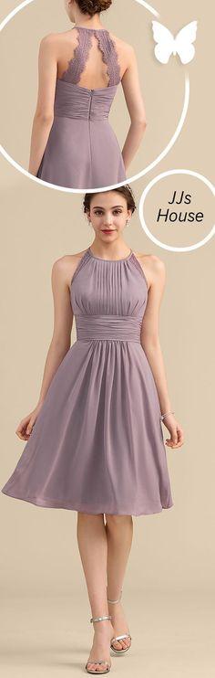 lace bridesmaids A-Line/Princess Scoop Neck Knee-Length Chiffon Lace Bridesmaid Dress With Ruffle Trendy Dresses, Simple Dresses, Cute Dresses, Casual Dresses, Short Dresses, Formal Dresses, Purple Lace Bridesmaid Dresses, Bridesmaid Dresses Online, Lace Bridesmaids
