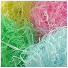 Edible Easter grass recipe. Try this recipe...it's so easy!  You'll need shredded coconut, food coloring, Zip lock bags (one for each color) and a cookie sheet (I lined mine with parchment paper.  Directions:  Pour desired amount of coconut (2 - 3 bags for larger baskets) into a large zip lock bag. Add a few drops of your favorite food color, zip shut and toss until evenly coated. Spread out evenly on a cookie sheet. Place in oven on warm, 150 degrees for about an hour.