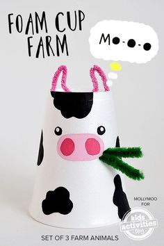 Foam Cup Crafts – The Farm Set {Cow, Chick + Piggy} | MollyMooCrafts.com for #kidsactivitiesblog