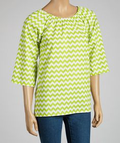 Take a look at this Lime Zigzag Tunic - Women by Haley and the Hound on #zulily today!