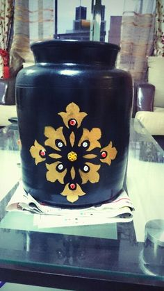 DIY stencil painted urn with beads