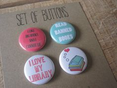 I love my library buttons. I love books buttons by PAGEFIFTYFIVE, $6.00