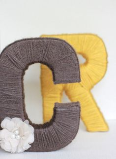 Yarn letters Custom yarn wrapped letters by olivialace on Etsy Yarn Wrapped Letters, Yarn Letters, Giant Letters, Homemade Crafts, Cute Crafts, Baby Decor, Diy Wreath, Diy Gifts, Sewing Crafts
