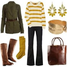 mustard outfit idea with tan boots