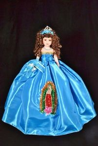 Quinceanera Virgen de Guadalupe Doll - This a super glamourous doll that you will feel proud to have at your party! Sweet 15, Food Coloring Mixing Chart, Tulle Skirt Dress, Floral Dress Design, Brown Curly Hair, Peacock Design, Gold Sequins, Quinceanera Dresses, Beautiful Dolls